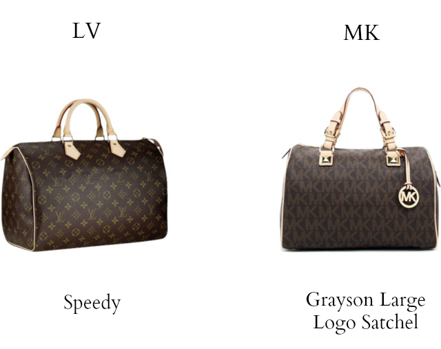 35d1fd2cd861 Louis Vuitton vs Michael Kors: louis vuitton speedy vs michael kors grayson  large logo satchel