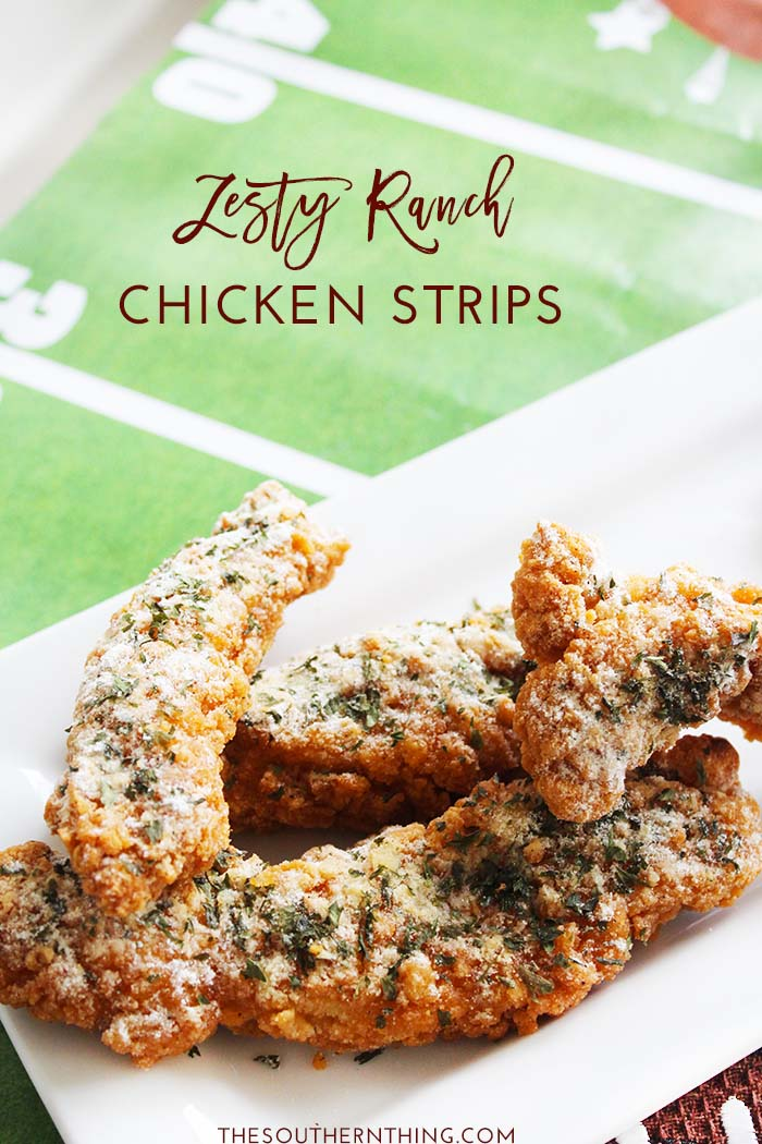 Zesty Ranch Chicken Strips Recipe: Crispy chicken strips in a zesty ranch seasoning