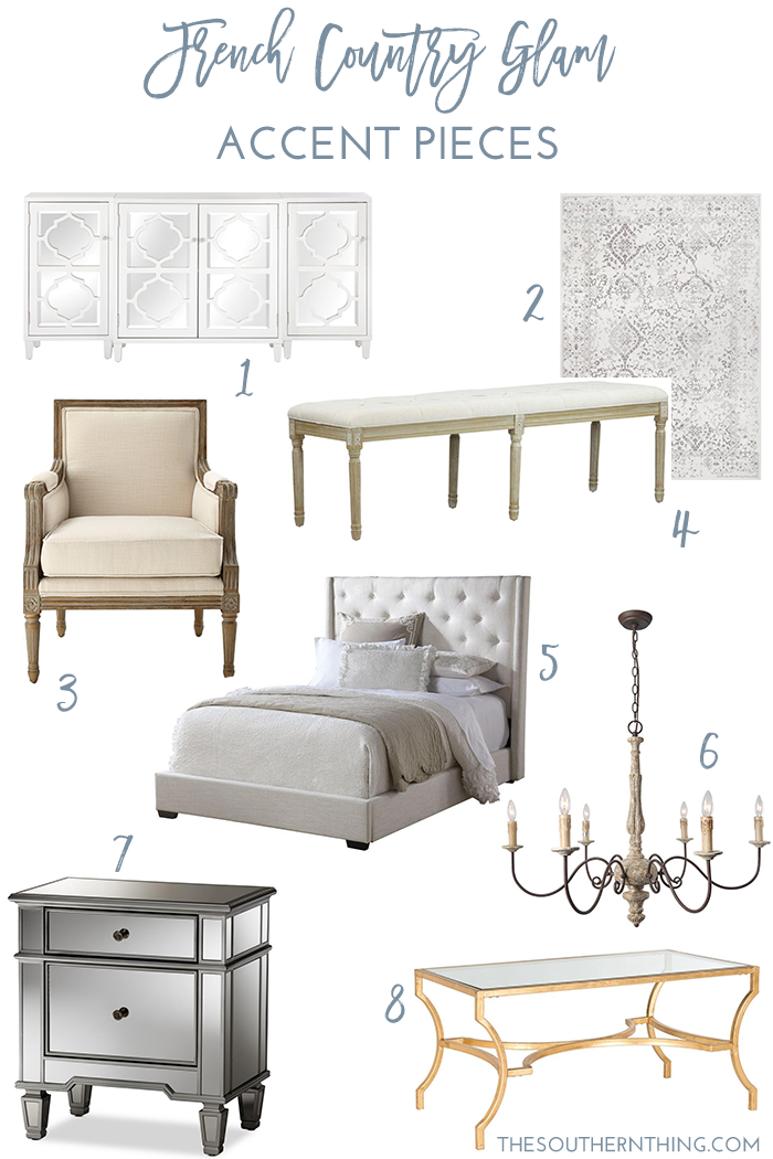 French Country Glam Decor Accent Pieces