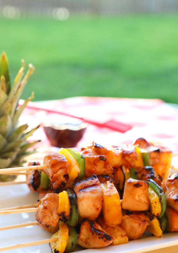 Grilled Teriyaki Chicken Kabobs with Grilled Bell Peppers and Pineapple